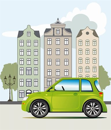 elakwasniewski (artist) - Ecological friendly green car parked on the street, vector illustration included Eps v8 and 300 dpi JPG Stock Photo - Budget Royalty-Free & Subscription, Code: 400-06073566