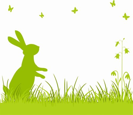 elakwasniewski (artist) - Easter background, bunny or rabbit sitting in the meadow with flowers and butterflies, vector illustration Stock Photo - Budget Royalty-Free & Subscription, Code: 400-06073581