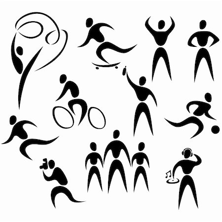 silhouette musical symbols - Vector icons of active healthy people Stock Photo - Budget Royalty-Free & Subscription, Code: 400-06073683