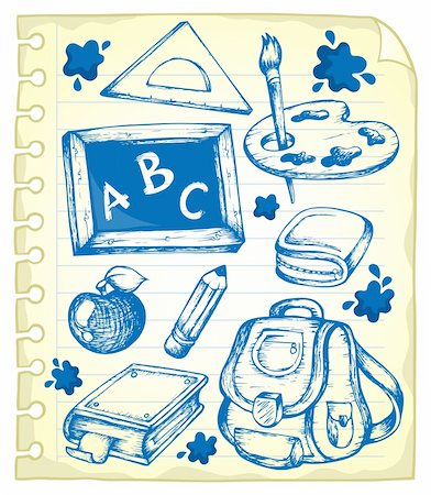 Notepad page with school drawings 1 - vector illustration. Stock Photo - Budget Royalty-Free & Subscription, Code: 400-06073756