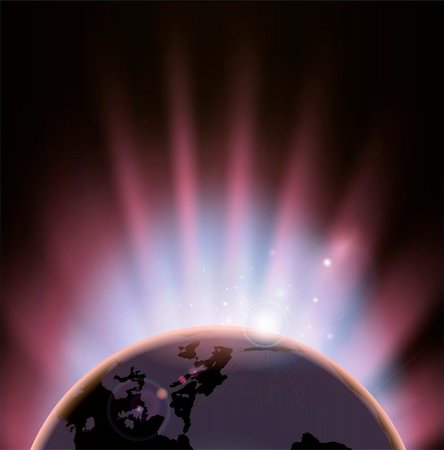 An illustration of the earth eclipsing the sun as it rises over it Stock Photo - Budget Royalty-Free & Subscription, Code: 400-06073793