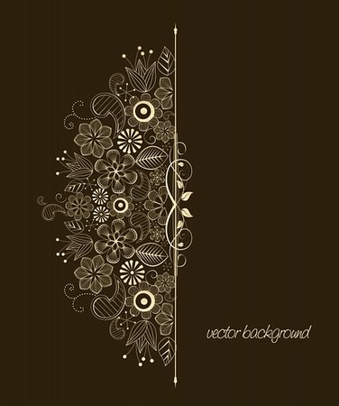 elegant wedding floral graphic - Beautiful floral illustration on brown background Stock Photo - Budget Royalty-Free & Subscription, Code: 400-06073872