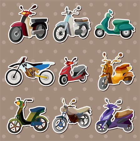 sports scooters - cartoon motorcycle stickers Stock Photo - Budget Royalty-Free & Subscription, Code: 400-06084194