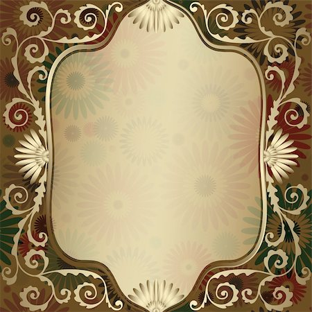 Vintage gold elegance frame with translucent flowers and gold curls (vector EPS 10) Stock Photo - Budget Royalty-Free & Subscription, Code: 400-06084414
