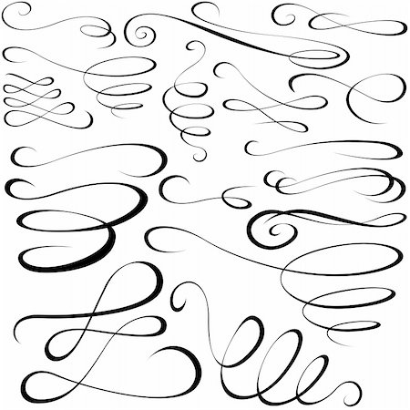 Calligraphic elements - black design elements,  illustration vector Stock Photo - Budget Royalty-Free & Subscription, Code: 400-06084412