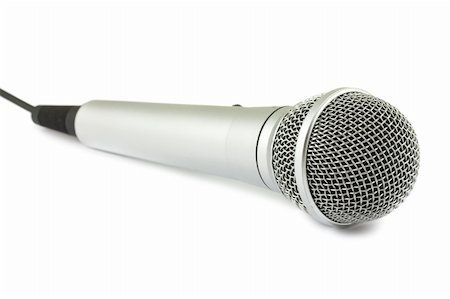 Silver microphone isolated on white background Stock Photo - Budget Royalty-Free & Subscription, Code: 400-06084580