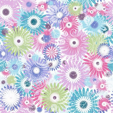 Seamless floral pastel pattern with colorful flowers and vintage curls (vector eps 10) Stock Photo - Budget Royalty-Free & Subscription, Code: 400-06084676