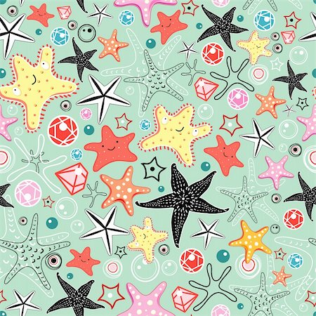 simsearch:400-04638538,k - seamless pattern of bright fun starfish on a green background Stock Photo - Budget Royalty-Free & Subscription, Code: 400-06084841