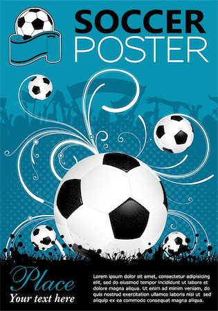Soccer Poster with Ball on Grunge Background, Silhouette Fans and Floral, vector Stock Photo - Budget Royalty-Free & Subscription, Code: 400-06084858