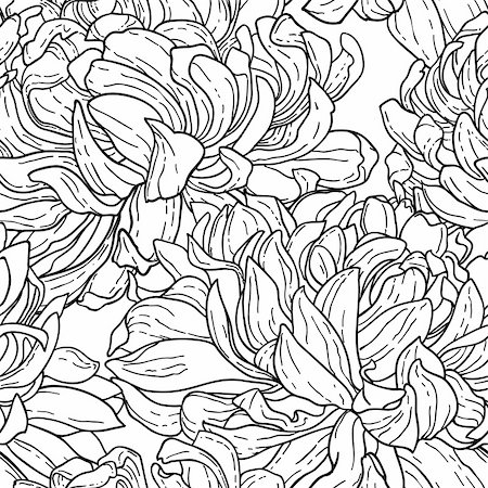 Seamless floral black and white tracery pattern with hand-drawn chrysanthemum flower isolated on white. Stock Photo - Budget Royalty-Free & Subscription, Code: 400-06085066