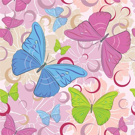 Abstract colored butterfly and flowers seamless pattern background, vector illustration. Stock Photo - Budget Royalty-Free & Subscription, Code: 400-06085101