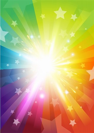 fun happy colorful background images - Colour Burst Background - with stars and transparencies Stock Photo - Budget Royalty-Free & Subscription, Code: 400-06085164