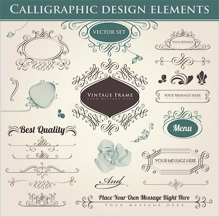 Vector set. Calligraphic design. Elements and page decoration. Stock Photo - Budget Royalty-Free & Subscription, Code: 400-06085261