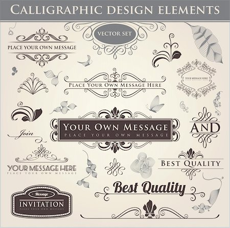 Vector set. Calligraphic design. Elements and page decoration. Stock Photo - Budget Royalty-Free & Subscription, Code: 400-06085262