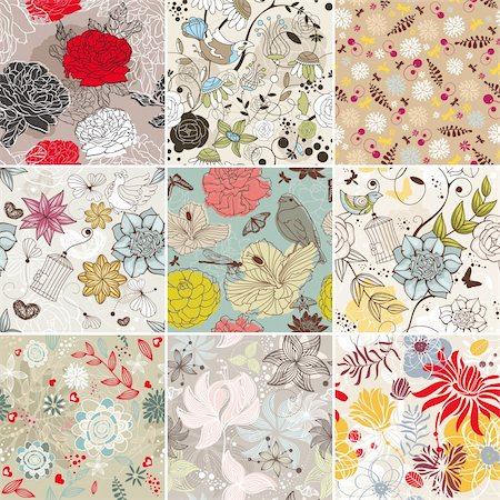 abstract vector set of seamless floral background Stock Photo - Budget Royalty-Free & Subscription, Code: 400-06085524