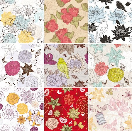 abstract vector set of seamless floral background Stock Photo - Budget Royalty-Free & Subscription, Code: 400-06085523