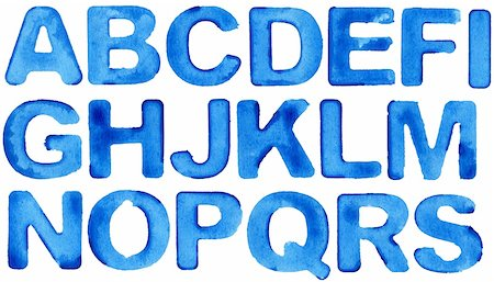 paint dripping graphic - Painted blue watercolor alphabet, isolated. Stock Photo - Budget Royalty-Free & Subscription, Code: 400-06085608