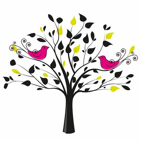 tree with a pair of birds on a white background Stock Photo - Budget Royalty-Free & Subscription, Code: 400-06086050