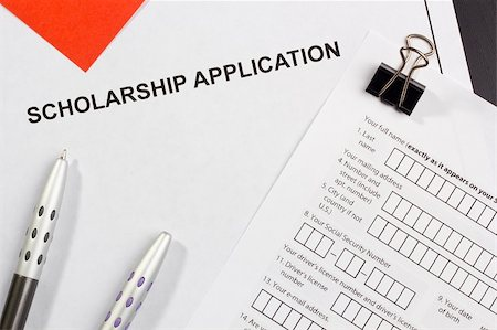 Directly above photograph of a scholarship application. Stock Photo - Budget Royalty-Free & Subscription, Code: 400-06086282