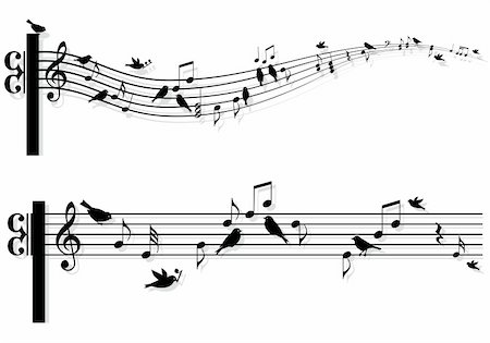 music notes with singing birds, vector background Stock Photo - Budget Royalty-Free & Subscription, Code: 400-06086578