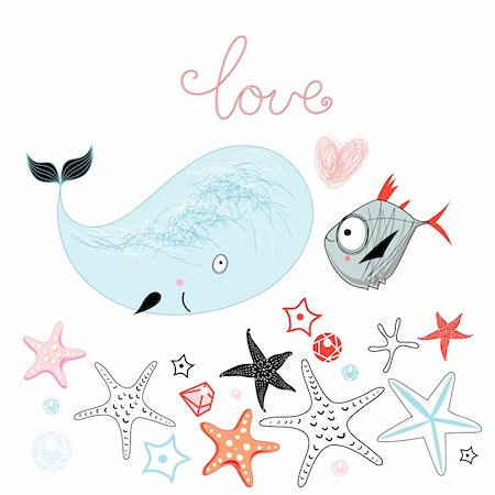 simsearch:400-04638538,k - fun loving whale and a fish on a white background with the stars Stock Photo - Budget Royalty-Free & Subscription, Code: 400-06086897