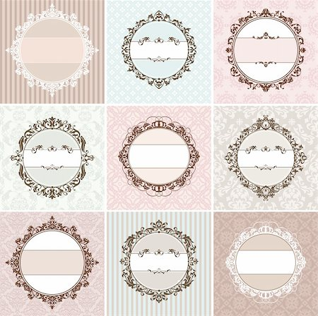 set of vintage floral frame vector illustration Stock Photo - Budget Royalty-Free & Subscription, Code: 400-06087335