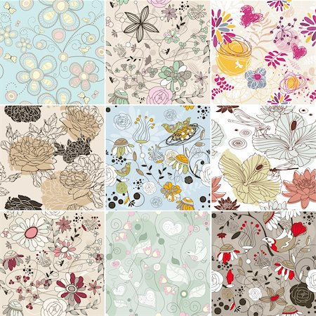 abstract vector set of seamless floral background Stock Photo - Budget Royalty-Free & Subscription, Code: 400-06087333