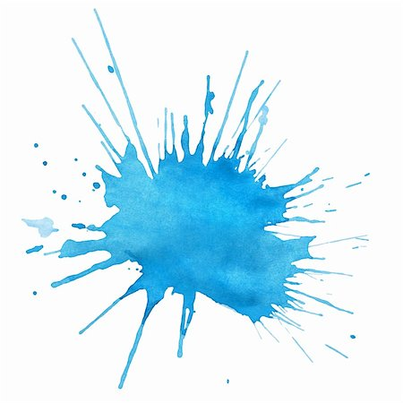 drop painting splash - Blot of blue watercolor isolated on white Stock Photo - Budget Royalty-Free & Subscription, Code: 400-06087580