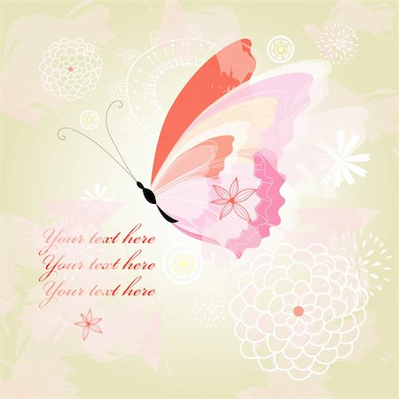 soft colored background with flowers and a big butterfly Stock Photo - Budget Royalty-Free & Subscription, Code: 400-06087623