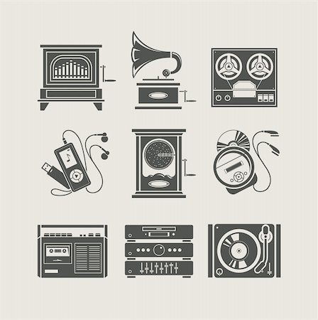silhouette musical symbols - musical device set of icon vector illustration Stock Photo - Budget Royalty-Free & Subscription, Code: 400-06087967