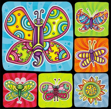Beautiful, cartoon, colorful butterflies with open wings on bright swirly backgrounds, Icons set for you designs. Stock Photo - Budget Royalty-Free & Subscription, Code: 400-06088584
