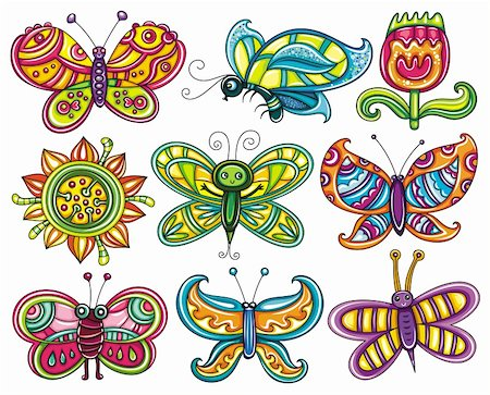 Butterfly icon set. Beautiful, cartoon, colorful butterflies with open wings isolated on white backgrounds, Icons set for you designs Stock Photo - Budget Royalty-Free & Subscription, Code: 400-06088583