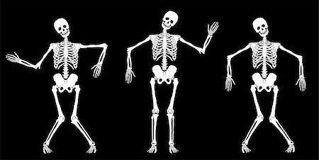 White dancing skeletons on black. Set #1. Vector Stock Photo - Budget Royalty-Free & Subscription, Code: 400-06088657