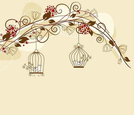 floral decoration par with caged birds Stock Photo - Budget Royalty-Free & Subscription, Code: 400-06088790