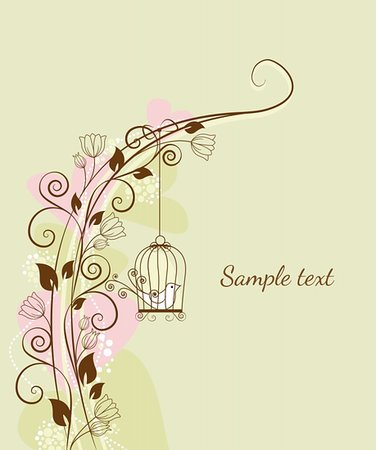 floral decorations with a bird in a cage Stock Photo - Budget Royalty-Free & Subscription, Code: 400-06088791