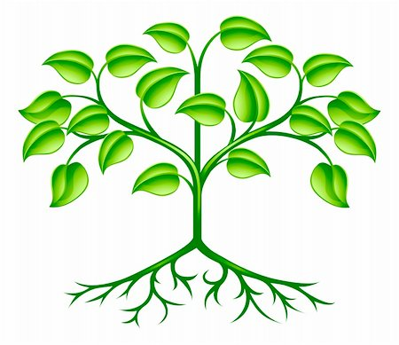 A green stylised tree design element symbolising growth, nature or the environment Stock Photo - Budget Royalty-Free & Subscription, Code: 400-06088870