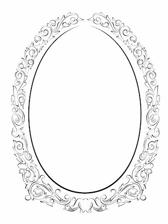 calligraphy penmanship oval baroque frame black isolated, not traced - use it by part Stock Photo - Budget Royalty-Free & Subscription, Code: 400-06089106