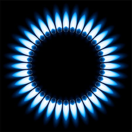 Blue Gas Flame. Illustration on black background Stock Photo - Budget Royalty-Free & Subscription, Code: 400-06089177