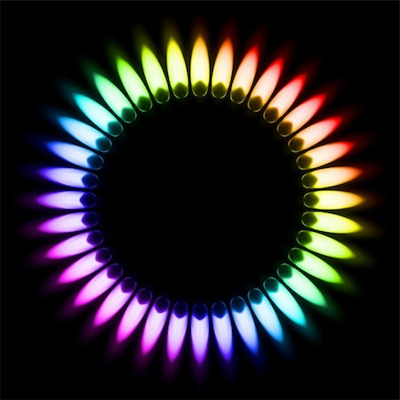 Color Gas Flame. Illustration on black background Stock Photo - Budget Royalty-Free & Subscription, Code: 400-06089178