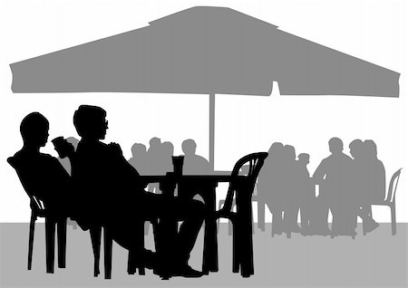 Vector drawing people in cafes. Silhouettes of people in urban life Stock Photo - Budget Royalty-Free & Subscription, Code: 400-06080075