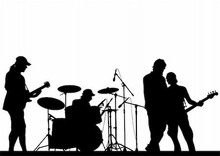 Vector image of musical group and audience Stock Photo - Budget Royalty-Free & Subscription, Code: 400-06080077