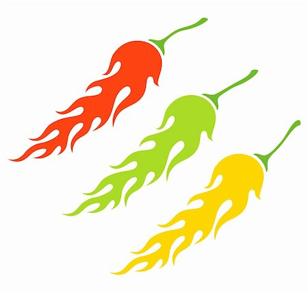 Illustration of the three kinds of peppers in the form of a flame Stock Photo - Budget Royalty-Free & Subscription, Code: 400-06080078