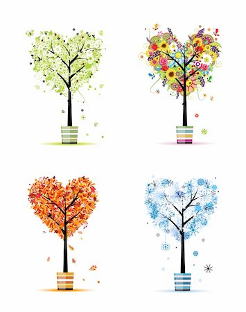 Four seasons - spring, summer, autumn, winter. Art trees in pots for your design Stock Photo - Budget Royalty-Free & Subscription, Code: 400-06080186