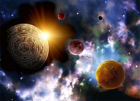 Maya prophecy. Horizontal background space scene Stock Photo - Budget Royalty-Free & Subscription, Code: 400-06080343