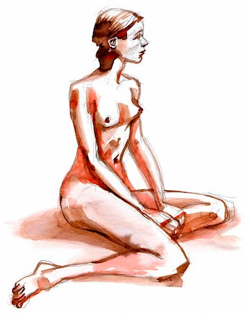 small breasts woman nude - Nude girl posing, nude art, hand drawn with pencil and ink Stock Photo - Budget Royalty-Free & Subscription, Code: 400-06080372