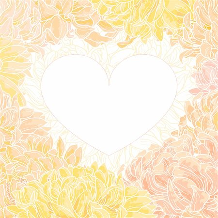 Romantic vector heart - shape frame with chrysanthemum. Stock Photo - Budget Royalty-Free & Subscription, Code: 400-06080543