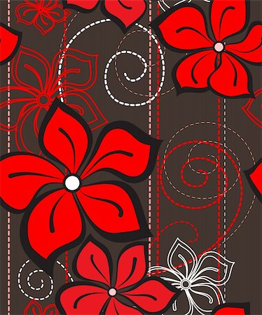 Vector illustration of a floral seamless pattern Stock Photo - Budget Royalty-Free & Subscription, Code: 400-06081077