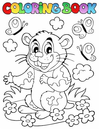flower clipart paint - Coloring book with cartoon hamster - vector illustration. Stock Photo - Budget Royalty-Free & Subscription, Code: 400-06081434