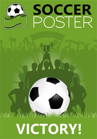 Soccer Poster with Winning Team with the Cup in his hands, vector illustration Stock Photo - Budget Royalty-Free & Subscription, Code: 400-06081480