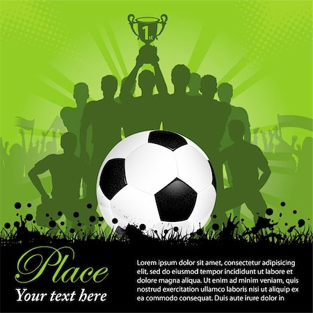 Soccer Poster with Winning Football Team with the Cup in his hands and Fans, vector illustration Stock Photo - Budget Royalty-Free & Subscription, Code: 400-06081481